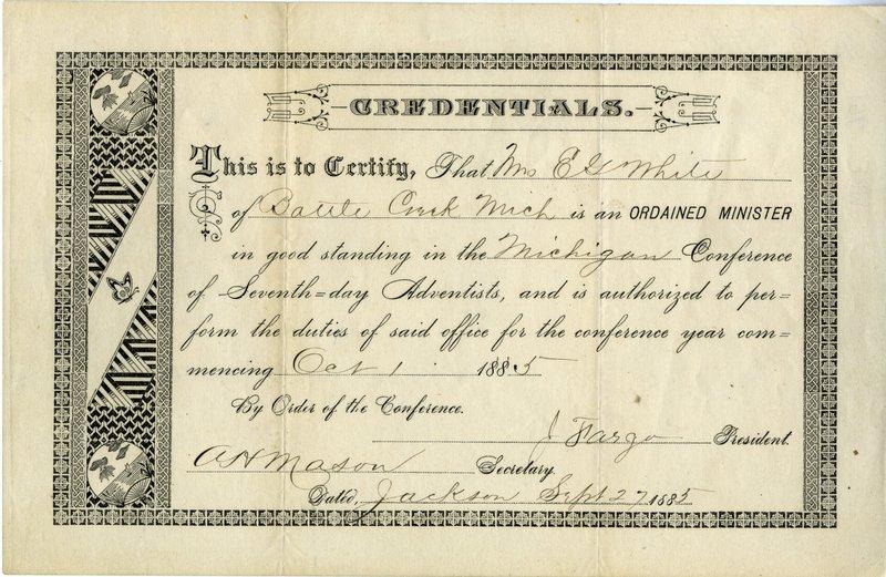 10 EGW Ordained Minister Cert Oct 1885