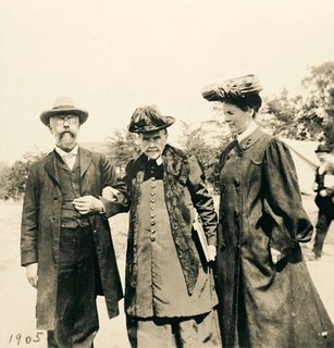 Ellen G. White with son, W. C. White and his wife, May, at the 1905 General Conference Session, Takoma Park, Maryland, May 1905