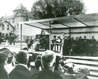 Ellen G. White at the Loma Linda Sanitarium dedication, Loma Linda, California, April 15, 1906