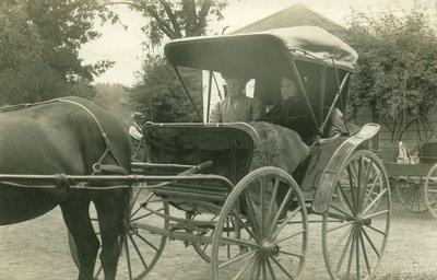 Ellen G. White with Sara McEnterfer, Elmshaven, St. Helena, California, circa 1910